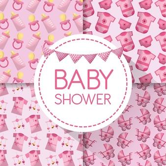 Rótulo de chuveiro de bebê com roupas babe carriege chupetas garrafa leite fundo rosa flâmula