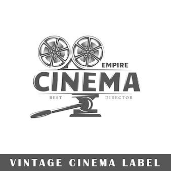 Rótulo de cinema isolado em fundo branco