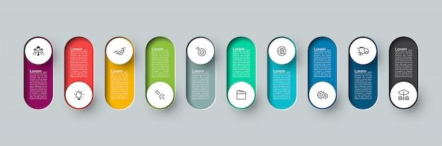 Rótulo de círculo longo 3d de infográfico de vetor, infográfico com número 10 processos de opções.