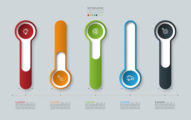 Rótulo de círculo longo 3d infográfico, infográfico com processos de opções número 5.