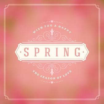 Rótulo de citação tipografia primavera para cartão.