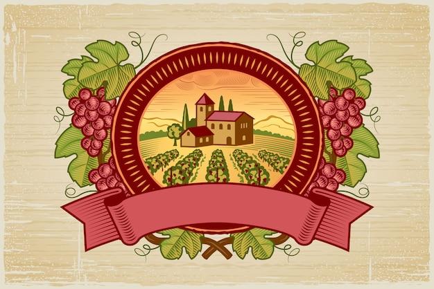 Rótulo de colheita de uvas