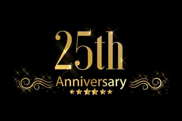 Rótulo de comemoração de aniversário dourado
