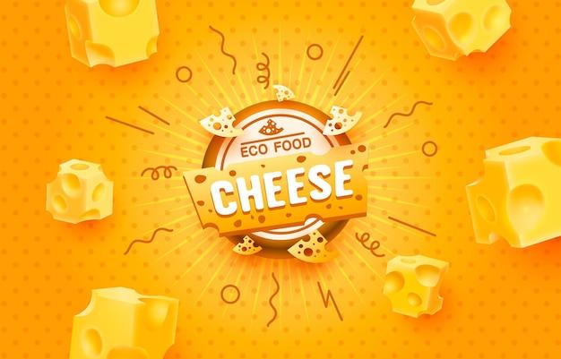Rótulo de comida ecológica de queijo
