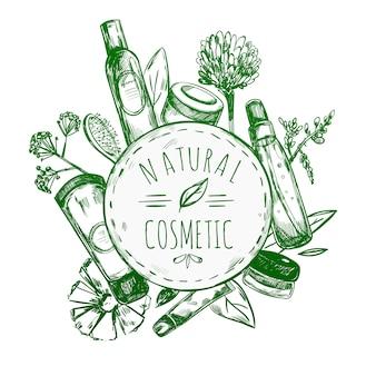 Rótulo de cosméticos naturais desenhados à mão