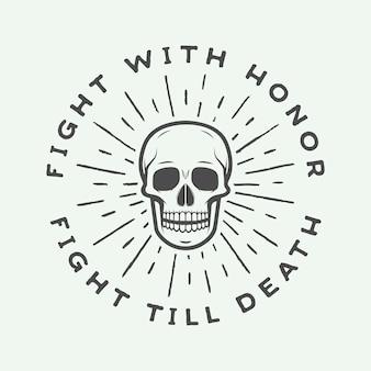 Rótulo de crânio lutando vintage, emblema e logotipo.