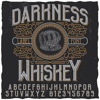 Rótulo de darkness whisky