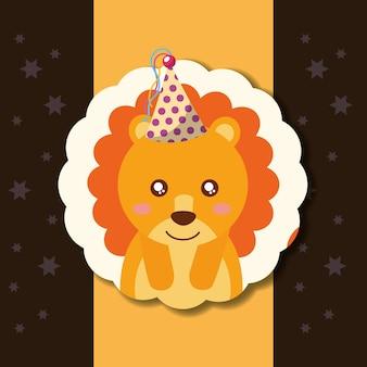 Rótulo de decoração de chapéu de festa de leão bonito