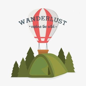 Rótulo de desejo por viajar com cena da floresta e barraca de acampamento