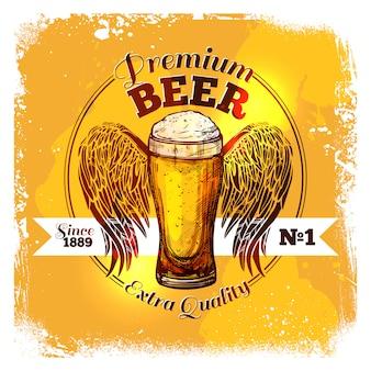 Rótulo de desenho de cerveja