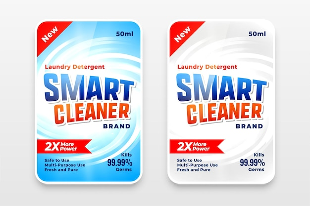 Rótulo de detergente para roupas de limpeza inteligente