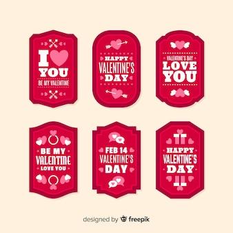 Rótulo de dia dos namorados com pacote de mensagem