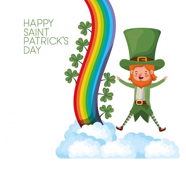 Rótulo de dia feliz saint patrick com leprechaun e arco-íris