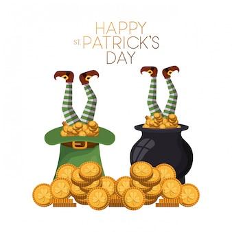 Rótulo de dia feliz st patrick`s com ícones de duende