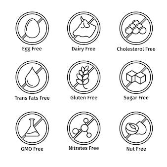 Rótulo de dieta alimentar e sem ogm definido em estilo de linha