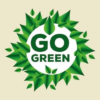Rótulo de ecologia com folhas para conservação do meio ambiente