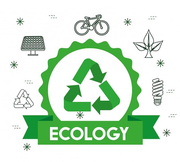 Rótulo de ecologia com sinal de reciclagem e fita