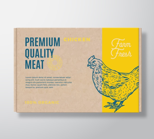 Rótulo de embalagem de carne de frango de qualidade premium em um recipiente de caixa de papelão de artesanato.