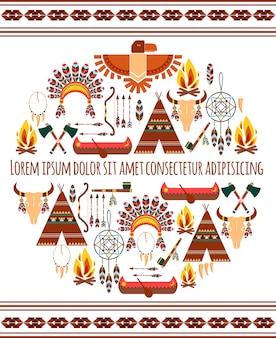 Rótulo de emblema tribal americano colorido sem costura atraente isolado