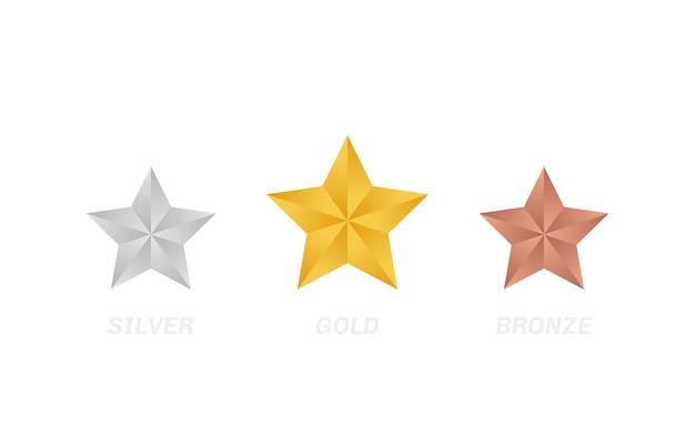Rótulo de estrela de ouro prata e bronze. revisão da avaliação do produto do cliente.