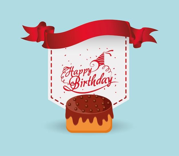Rótulo de fita de bolo feliz aniversário