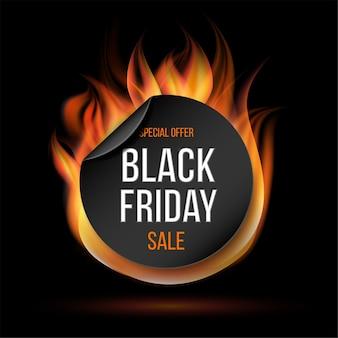 Rótulo de fogo de venda de sexta-feira negra. etiqueta ou crachá especial ardente para promoção de negócios.