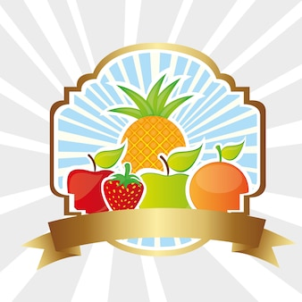 Rótulo de frutas nas linhas de fundo
