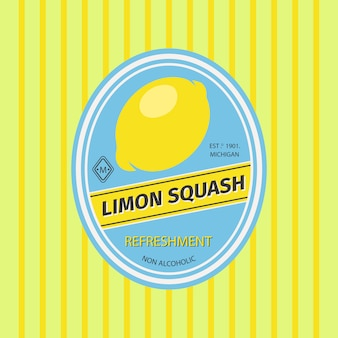 Rótulo de frutas retrô de abóbora limon