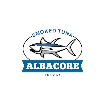Rótulo de frutos do mar com logotipo de atum atum voador defumado