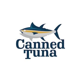 Rótulo de frutos do mar com logotipo de vetor de atum e peixe enlatado