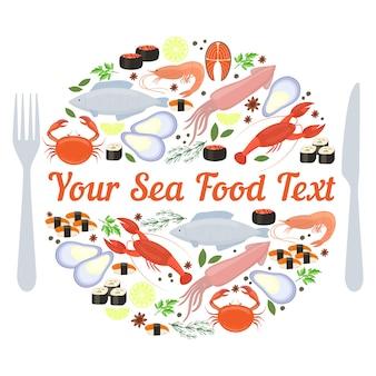 Rótulo de frutos do mar de vetor com garfo e faca