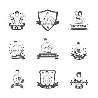 Rótulo de ginásio de fitness musculação preto