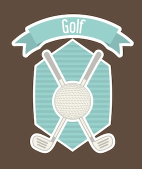Rótulo de golfe com bola e sobre ilustração vetorial de fundo marrom