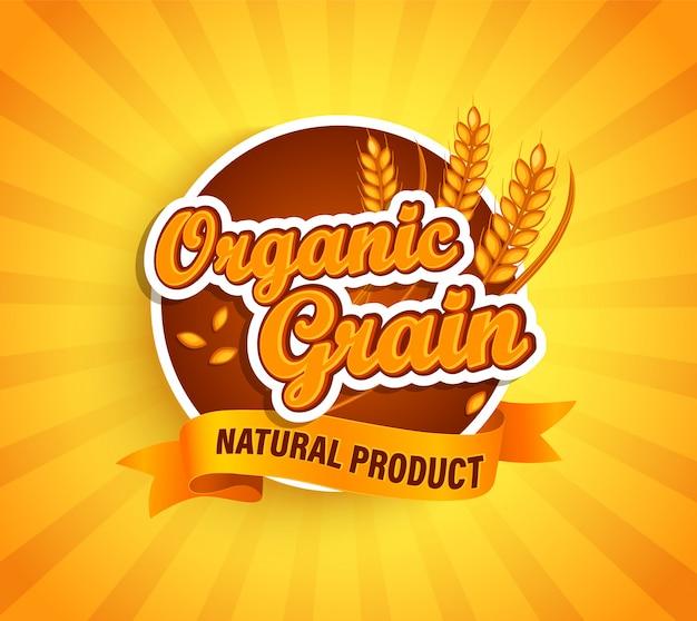 Rótulo de grão orgânico, produto natural natural