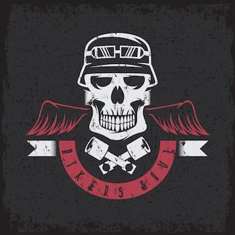 Rótulo de grunge tema motociclista com pistões, asas e caveiras