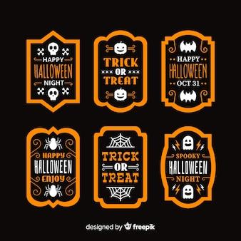 Rótulo de halloween plana e coleção de crachá