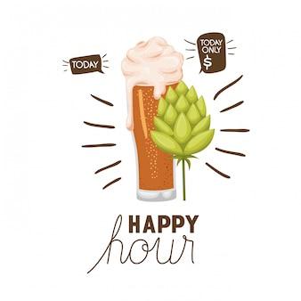 Rótulo de happy hour com ícone isolado de cerveja