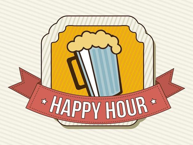 Rótulo de happy hour sobre ilustração vetorial de fundo bege