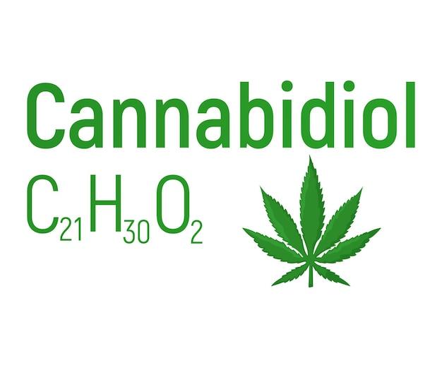 Rótulo de ícone de fórmula química de conceito de canabidiol, ilustração em vetor fonte texto, isolado no branco. tabela de elementos periódicos, coisas de cannabis de drogas que causam dependência.