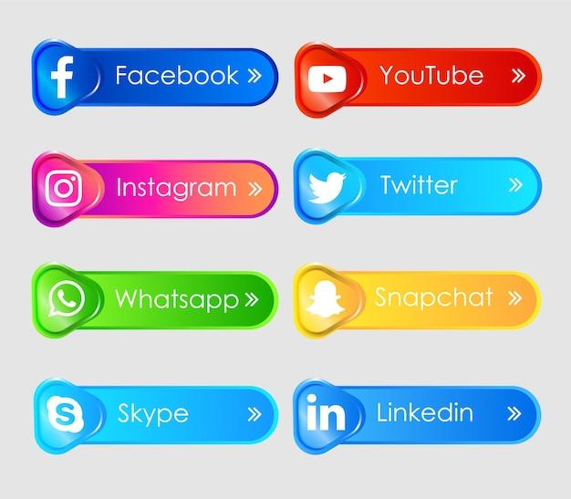 Rótulo de ícones 3d de mídia social Vetor Premium