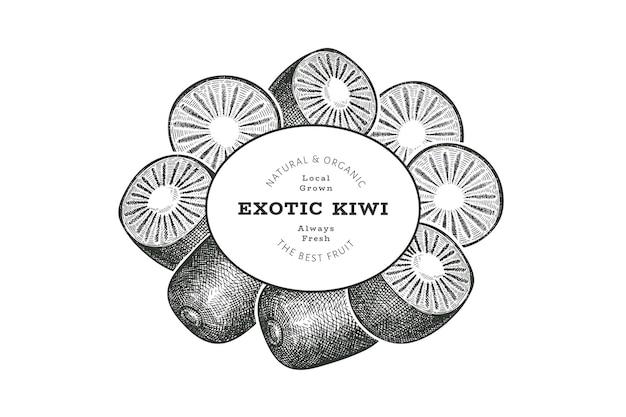 Rótulo de kiwi de estilo de esboço desenhado de mão. frutas frescas orgânicas. kiwi retrô