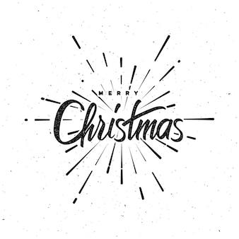 Rótulo de letras vintage de feliz natal com forma de fogo de artifício estourando