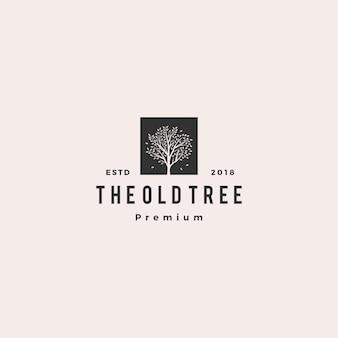 Rótulo de logotipo vintage retrô hipster de árvore logo