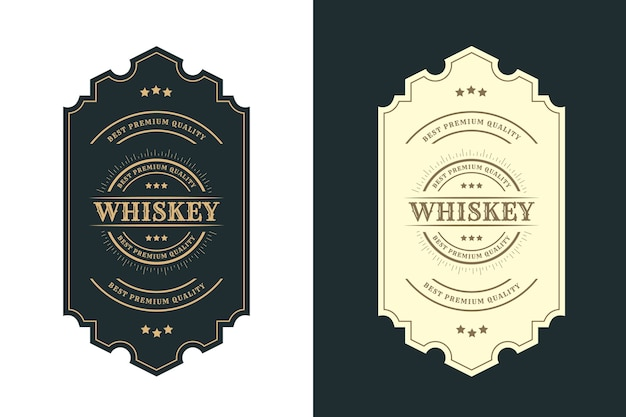 Rótulo de logotipo vintage royal luxo frames para cerveja, uísque, álcool
