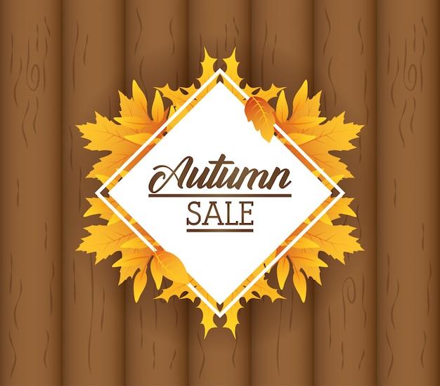 Rótulo de losango de venda outono