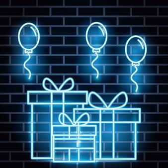 Rótulo de luzes de néon com giftbox e balões de hélio