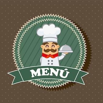 Rótulo de menu com o chef sobre fundo marrom