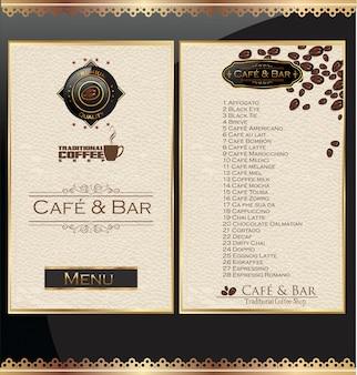 Rótulo de menu da casa de café