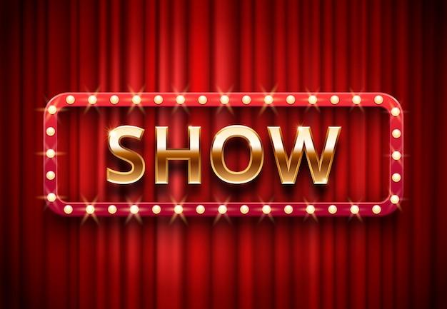 Rótulo de mostra de teatro, luzes de palco festivo mostra, texto dourado sobre fundo vermelho cortinas