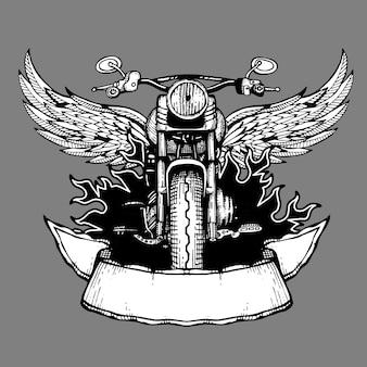 Rótulo de motociclista vintage, emblema, logotipo, emblema com moto